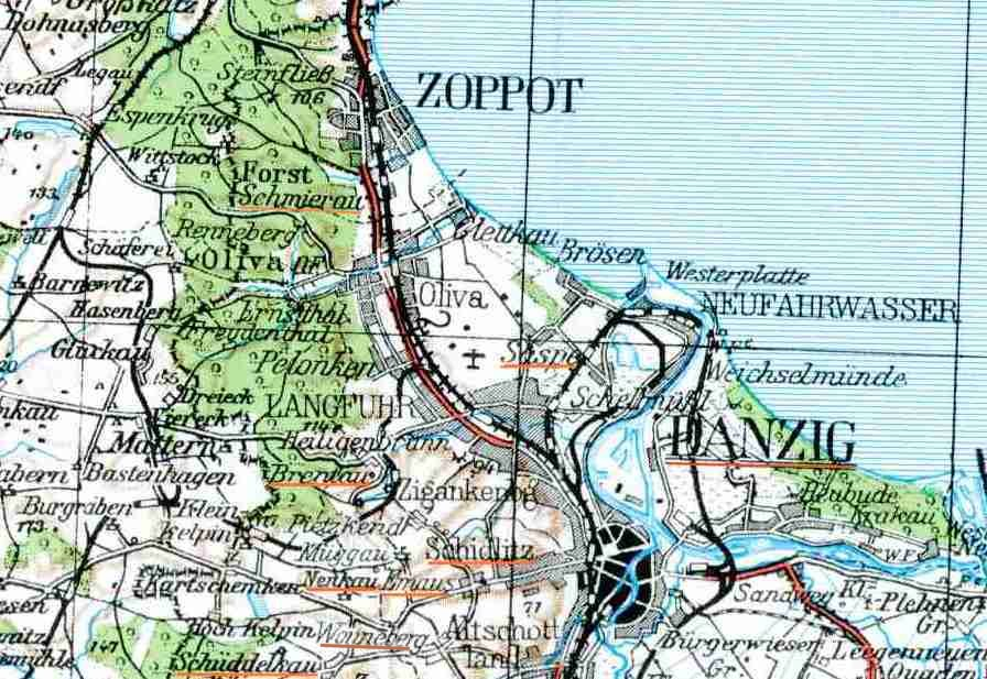 danzig karte Karte Danzig und Umgebung